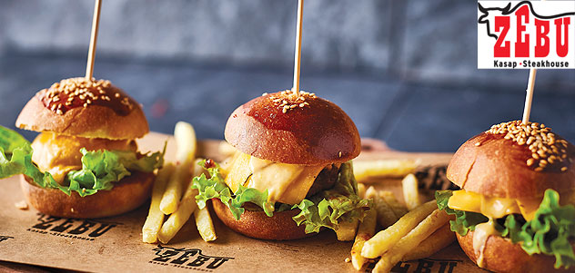 Zebu Steakhouse'ta 2 Kişi Burger Menü